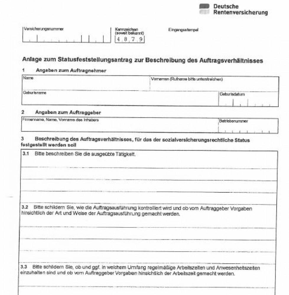 Hilfe zum DRV Fragebogen C0031 • Scheinselbstaendigkeit.de