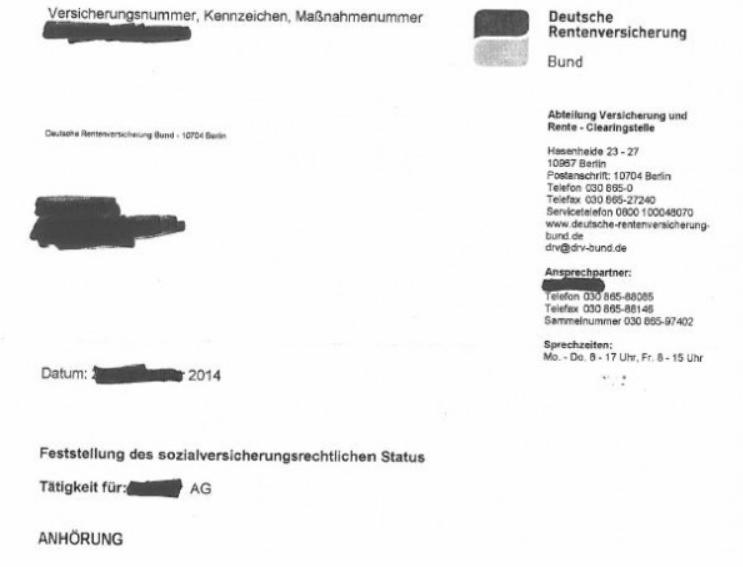 Anhörung: Post von der DRV