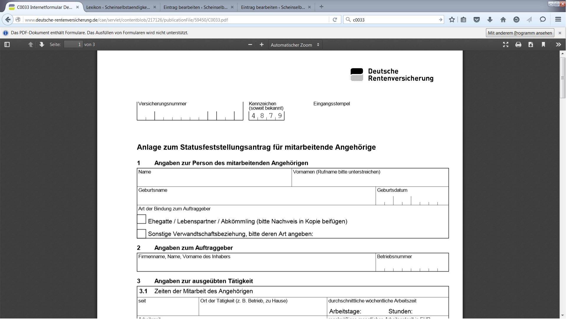 DRV Formular C0033 • Scheinselbstaendigkeit.de
