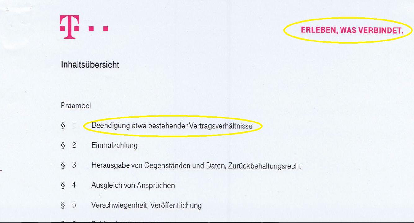 Telekom: Auflösungsvertrag unterschreiben?